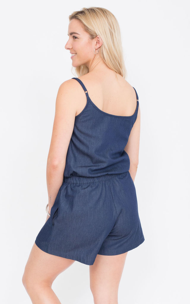 Strappy Denim Playsuit by likemary