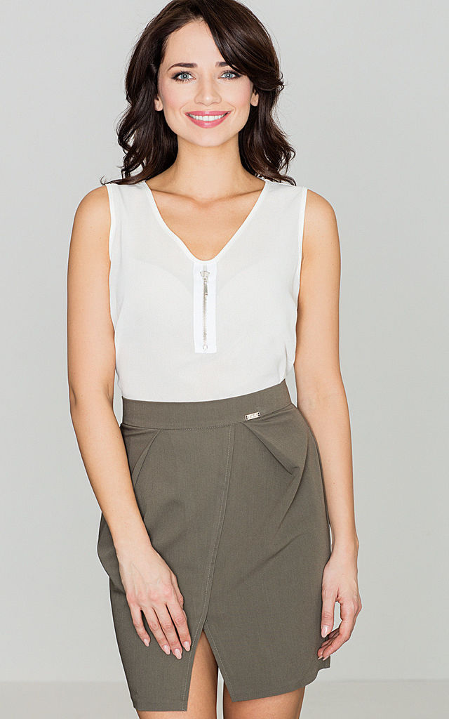Olive Green Front Cut Out Skirt by LENITIF