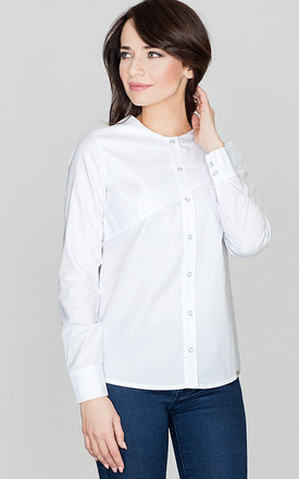 White Shirt with Overlap by LENITIF
