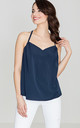 Navy Blue Frill Open Back Top by LENITIF