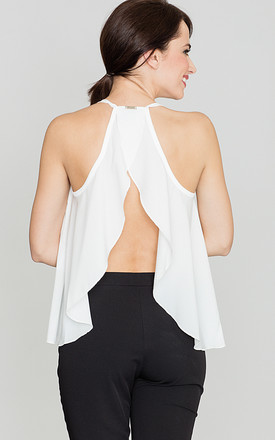 Open Back cami Top in white by LENITIF