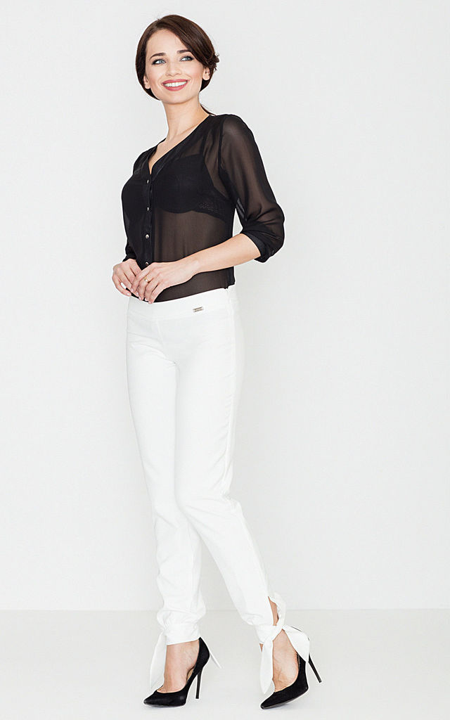 Smart Trousers with Ribbon leg in white by LENITIF