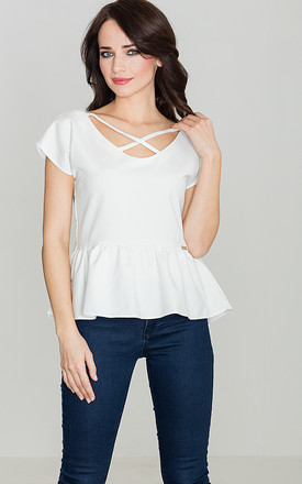 Peplum top with criss cross detail in white by LENITIF