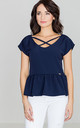 Navy Blue Frill Blouse with Cross Over Detail by LENITIF