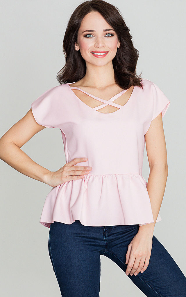 Pink Frill Blouse with Cross Over Detail by LENITIF