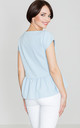 Light Blue Frill Blouse with Cross Over Detail by LENITIF