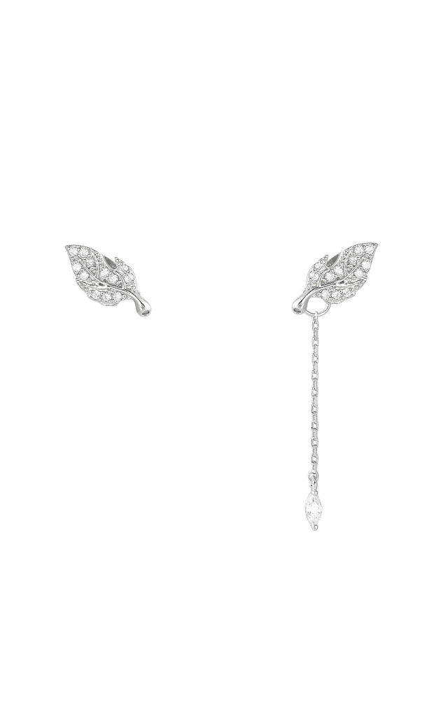 Asymmetric Leaf Two Way Earrings White Gold by DOSE of ROSE