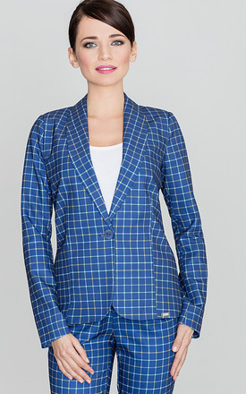 Blue Checked Jacket by LENITIF