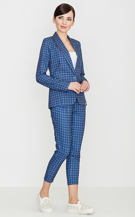 Blue Checked Trousers by LENITIF