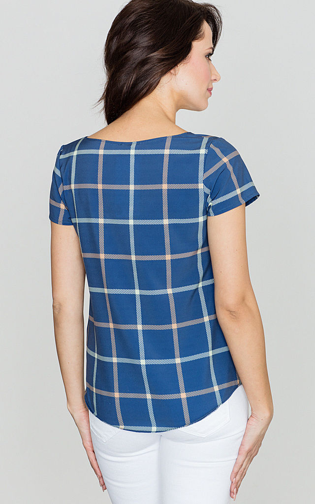 Blue Checked Short Sleeve Top by LENITIF
