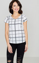 Short Sleeve Top in black and white check by LENITIF