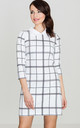 Ecru Checked Dress with Collar by LENITIF