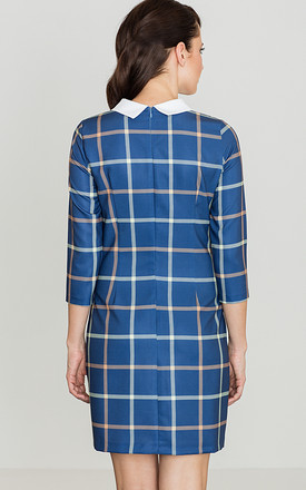 Blue Checked Dress with Collar by LENITIF