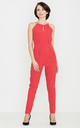 Red Halter Neck Jumpsuit by LENITIF