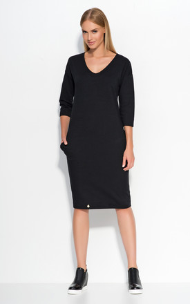 Black Casual Dress With Pockets by Makadamia Product photo