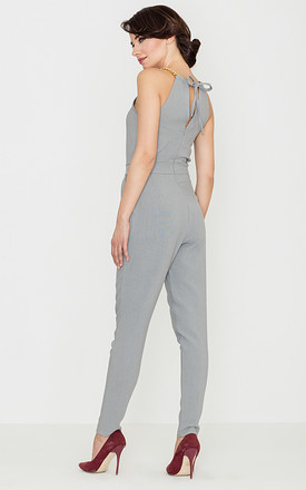 Grey Halter Neck Jumpsuit by LENITIF
