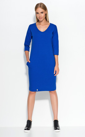 Blue Casual Dress with Pockets by Makadamia