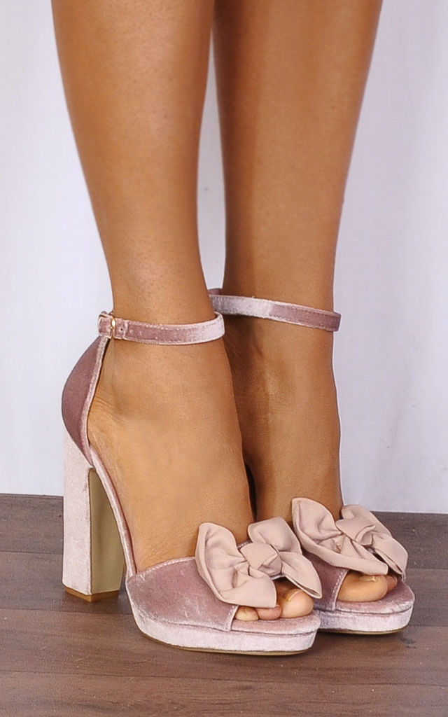 afdee1c31ed Nude Pink Velvet Bows Barely There Strappy Sandals Platforms High Heels by  Shoe Closet