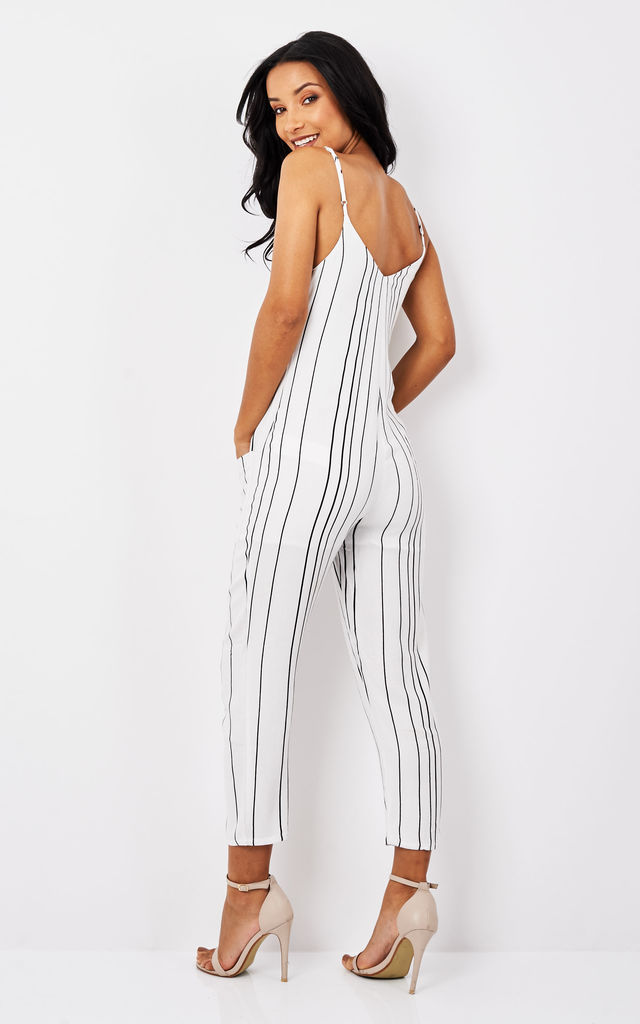 Stripe Button Up Jumpsuit by Mink Pink