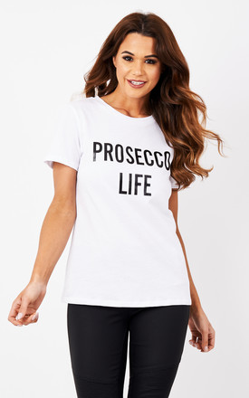 White Prosecco Life T-Shirt by Glamorous