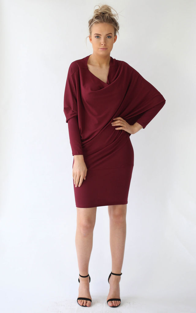 Portia Burgundy Oversize Asymmetric Dress by LagenLuxe
