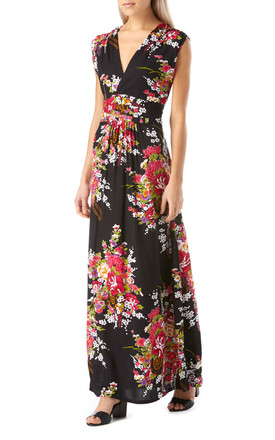 Black and Pink Floral Maxi Summer Dress by Ruby Rocks