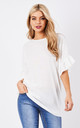 Viola Ruffle Sleeve Top in White by Frontrow Limited