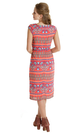 447 - Peace Out Dress - Red Ethnic by Trollied Dolly