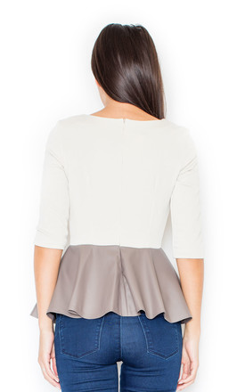 Beige Blouse with Faux Leather Frill by KATRUS
