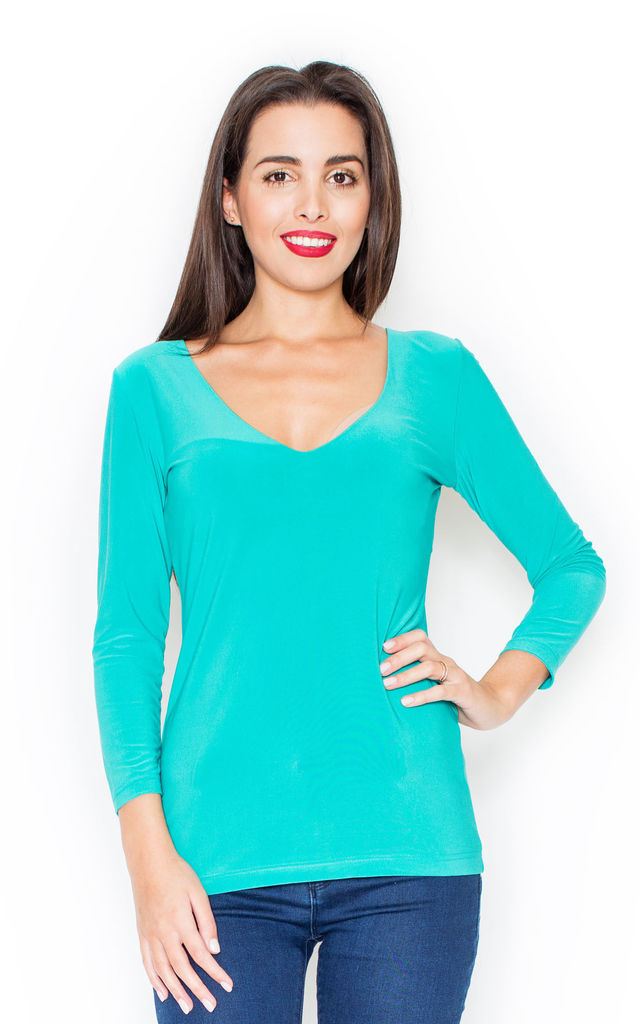 Sea Green 3/4 Sleeve V Neck Blouse by KATRUS