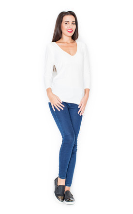 Long sleeve deep v neck top in white by KATRUS