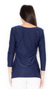 Navy Blue 3/4 Sleeve V Neck Blouse by KATRUS