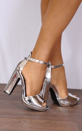 Metallic Silver Barely There Platforms Strappy Sandals High Heels by Shoe Closet