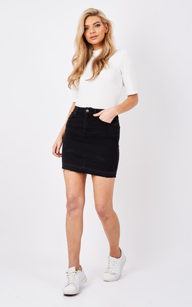 Black denim short skirt by Pieces