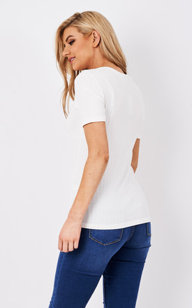 White short sleeve ribbed t-shirt by Pieces