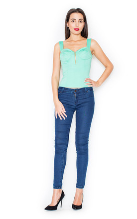 Bodice top with thick straps in mint green by KATRUS