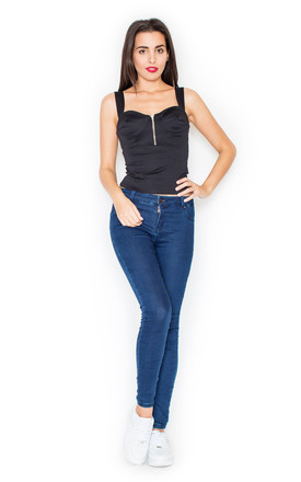 Black Sleeveless Top with Zip Front by KATRUS