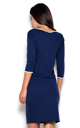 Navy Blue Dress with White Details by KATRUS