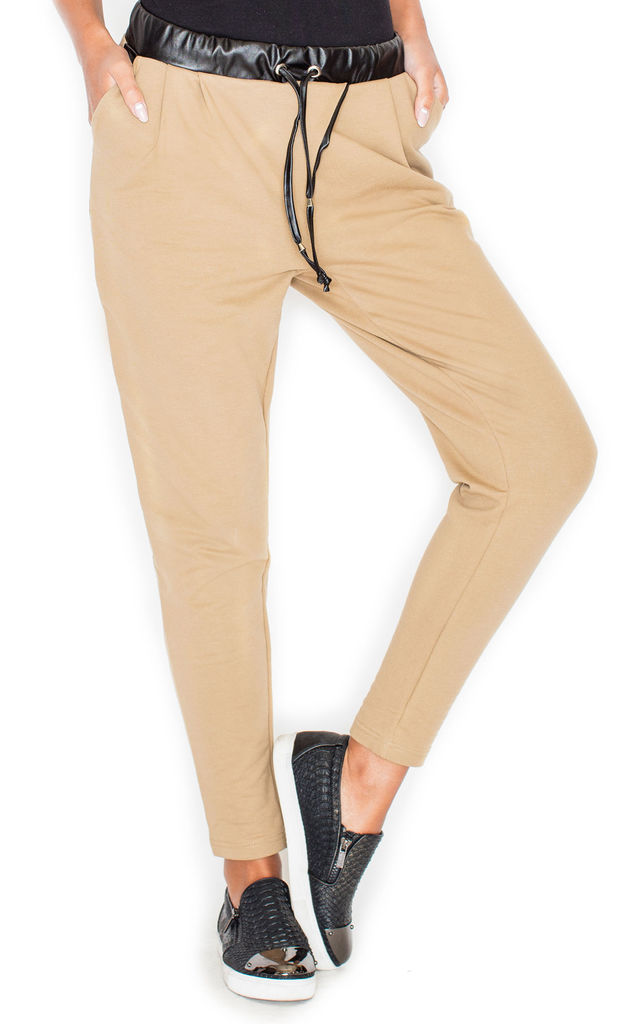 Beige Tracksuit Trousers with Faux Leather Details by KATRUS