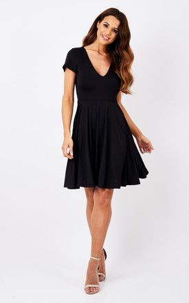 Black V Neck A Line Dress by Glamorous Product photo