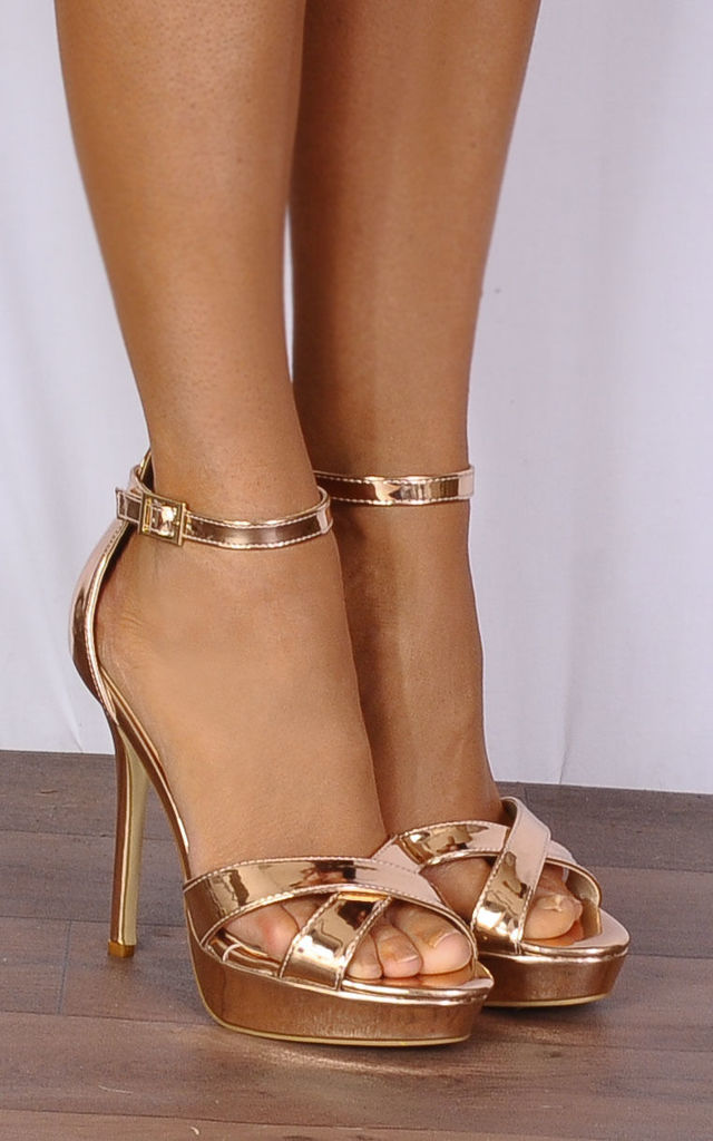 Rose Gold Metallic Barely There Stilettos Strappy Sandals High Heels by Shoe Closet
