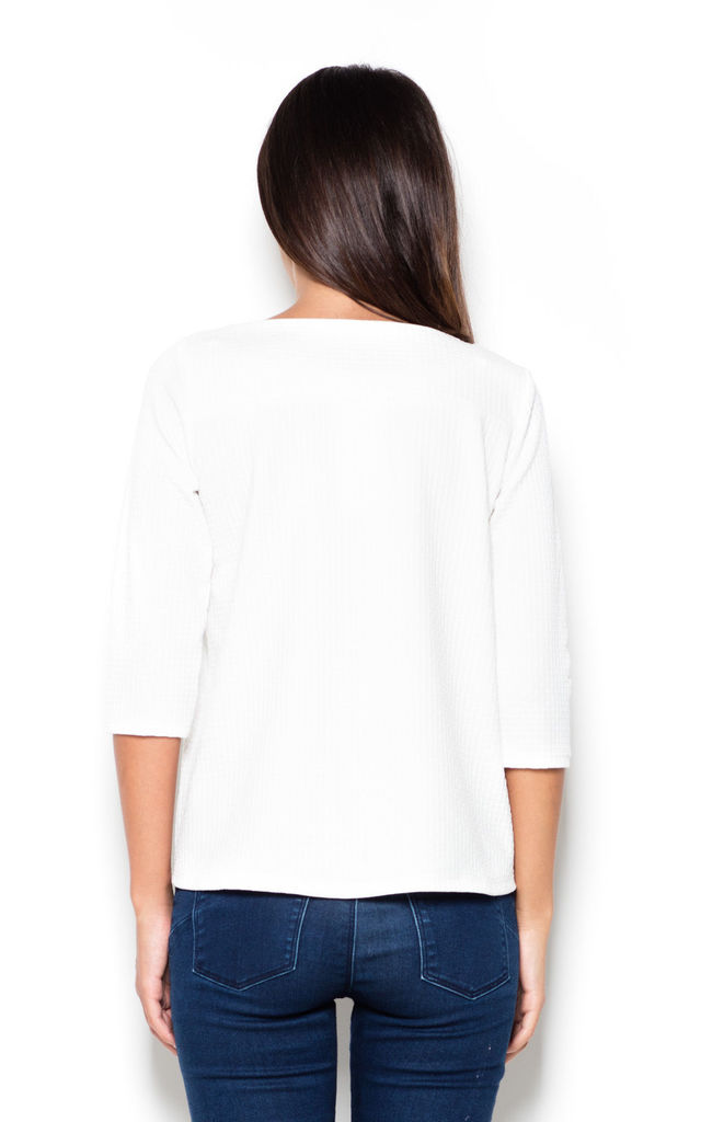 Ecru 3/4 Sleeve Blouse with Longer Back by KATRUS