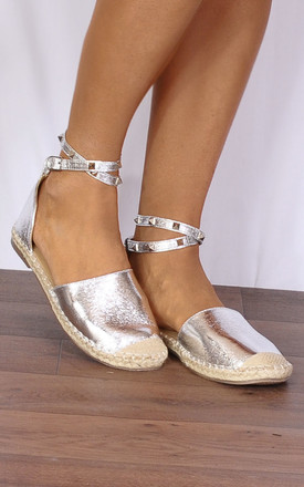 Silver Metallic Stud Wrap Round Flat Espadrilles Sandals Shoes by Shoe Closet Product photo