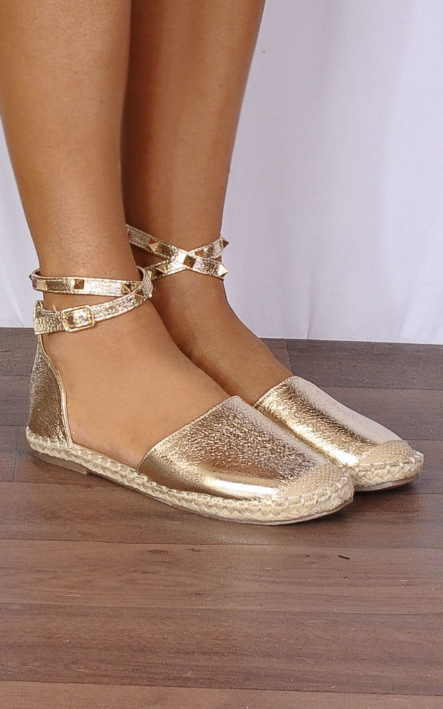 Gold Metallic Stud Wrap Round Flat Espadrilles Sandals Shoes by Shoe Closet