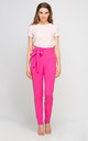 High Waisted Bow Tailored Pants In Black Fuchsia by Lanti