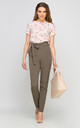 High Waisted Bow Tailored Pants In Khaki by Lanti