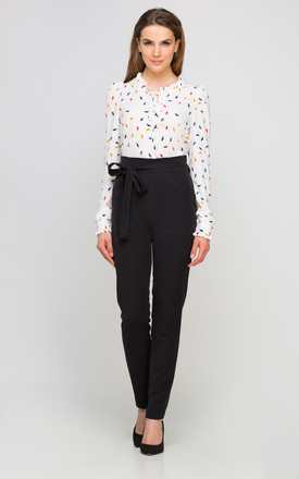 High Waisted Bow Tailored Pants In Black by Lanti