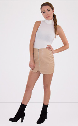 Zip Front Asymmetric Skirt Stone by MISSTRUTH