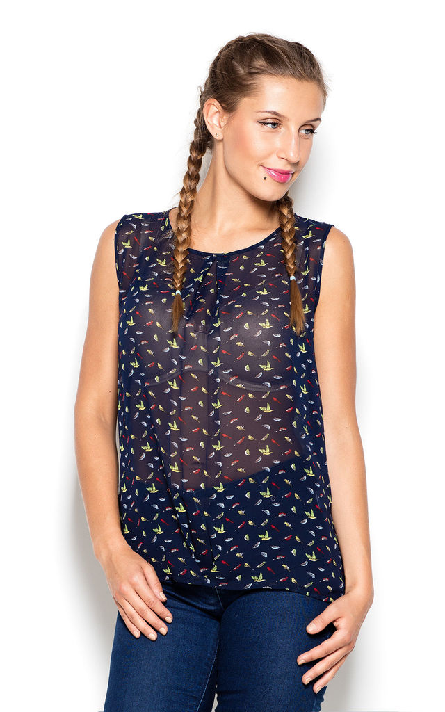 Navy Blue Print Bird Print Sleeveless Shirt by KATRUS