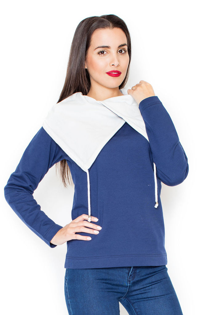 Navy Blue Sweater with Big Contrast Collar by KATRUS